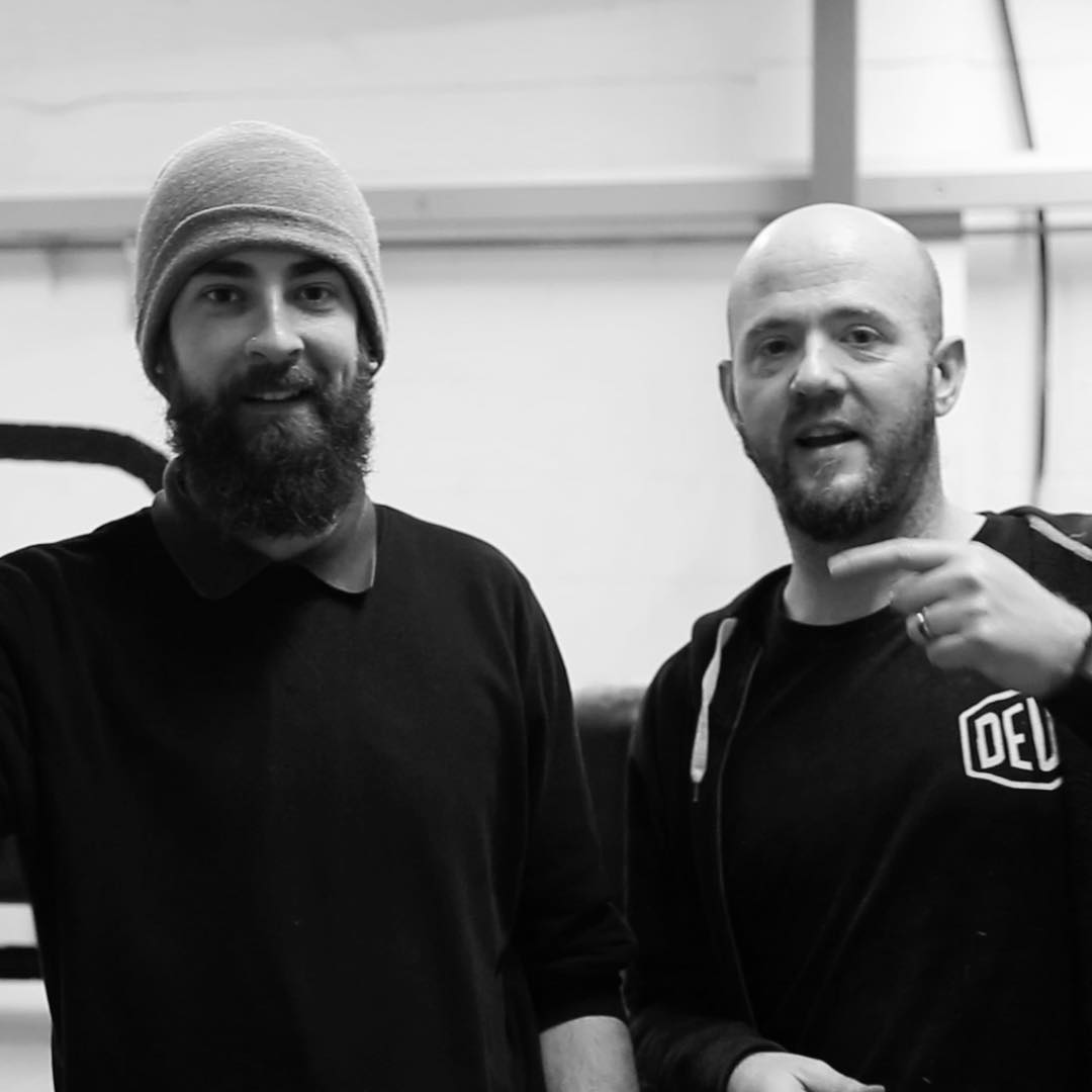 Me, on the right and Ryan, the CNC driver on the left, still smiling after 5 1/2 hrs of machine noise cutting our prototype standing desks and laptop stands! #prototype #cnc #cncplywood #standingdesk #standingdeskconverter #laptopstand #productdesign #ukstartup #officefurniture #industrialdesign