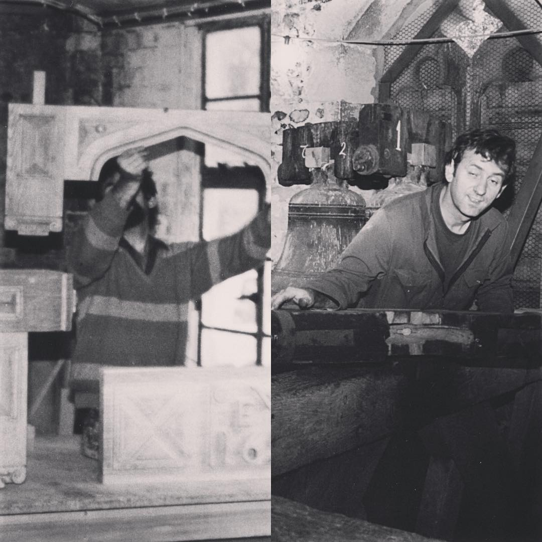 This is my late father who passed away nearly 7 years ago. He was a master carpenter and still my absolute inspiration for the furniture we are designing today. We worked on all sorts of projects together (on the right we were fitting bell stocks in a church tower). I'm pretty sure he would love what we are doing with CNC now, although I could still do with the benefit of his experience, as his knowledge of woodwork was unsurpassed. Wish I could show you my Instagram account – miss you Dad.
