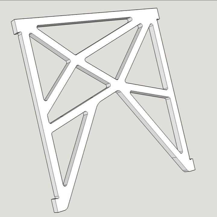 As part of our Standing Desk design process I have been reworking the S-Desk central panel for better large display support (when using monster size monitors). This is the redesigned component in Sketchup and I must say is my favourite piece of design so far. Being prototyped right now!