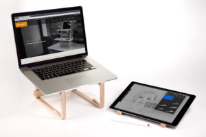 Wooden laptop stand for iPad Pro and laptop