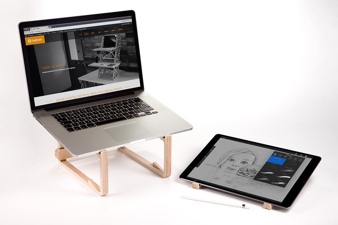Our La-Stand splits into two parts you can use it for two devices at the same time. Here it's shown with a MacBook Pro and iPad Pro – ideal for users of the @astropadapp so you can draw in the perfect position on your tablet but keep an eye on the other screen at the same time. This is a solution to a problem I've been having for ages with the iPad Pro, I really dislike drawing on a horizontal flat surface and the SmartKeyboard stand for the iPad can't manage a good drawing position. So I designed a stand that can do it all! The angle is perfect for drafting and sketching using the apple pencil (one of my favourite hobbies) and with the laptop on the other half I can use it as an extension of my workspace with a separate keyboard for quick shortcuts – within seconds I have the ultimate productive workstation which I can just chuck in my bag when I am done! This setup would also work really well for a mobile music production rig using a laptop and a mini midi keyboard or MPC. The top of the La-Stand is lined with silicone to keep your gear scratch free and nice and secure! The prototypes of these are out of testing now and are bang on so we will be taking orders very very soon. Please do follow us as we'll be posting release info right here. – – – – – – – – – – #laptopstand #astropad #ipadprostand #ipadpro #applepencil #workspacegoals #officeinterior #deskgoals #creativespaces #standupforyourself #corporatewellness #ergonomic #deskspace #officefurniture #whereiwork #coworkingspace #mydesk #plywood #modernfurniture #onmydesk #officestyle #workingfromhome #coworking #productivity #workspace #homeoffice #productdesign #setup #industrialdesign #helmm