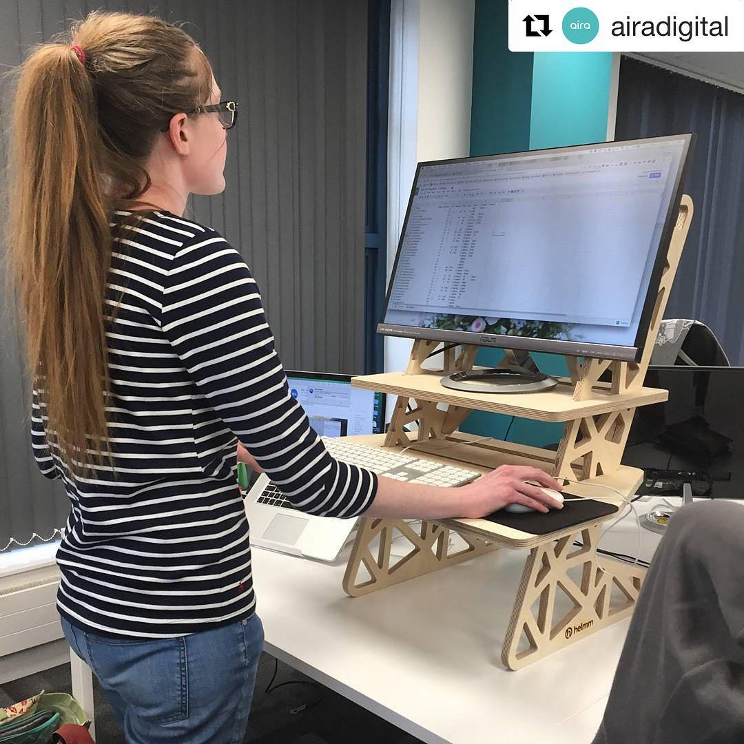 @airadigital ・・・ Our SEO exec @kayleighconners trying out her first standing desk from @helmm.co! What do you do to try and incorporate wellness into the workplace?