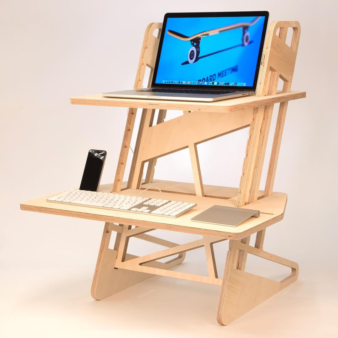 Just one of the hundreds of different ways you can use one of our standing desks. Slide the parts together, pop it on your desk and