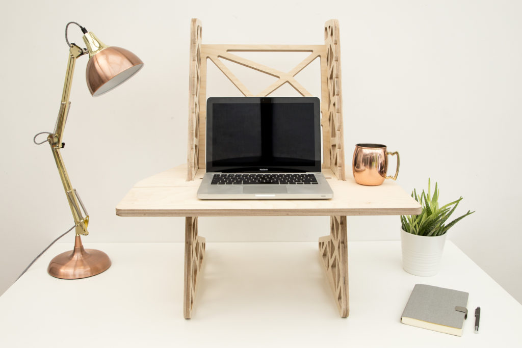 Helmm Standing Desk Converter - S-Desk Voro - Single Shelf