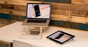 Wooden laptop and ipad pro stand