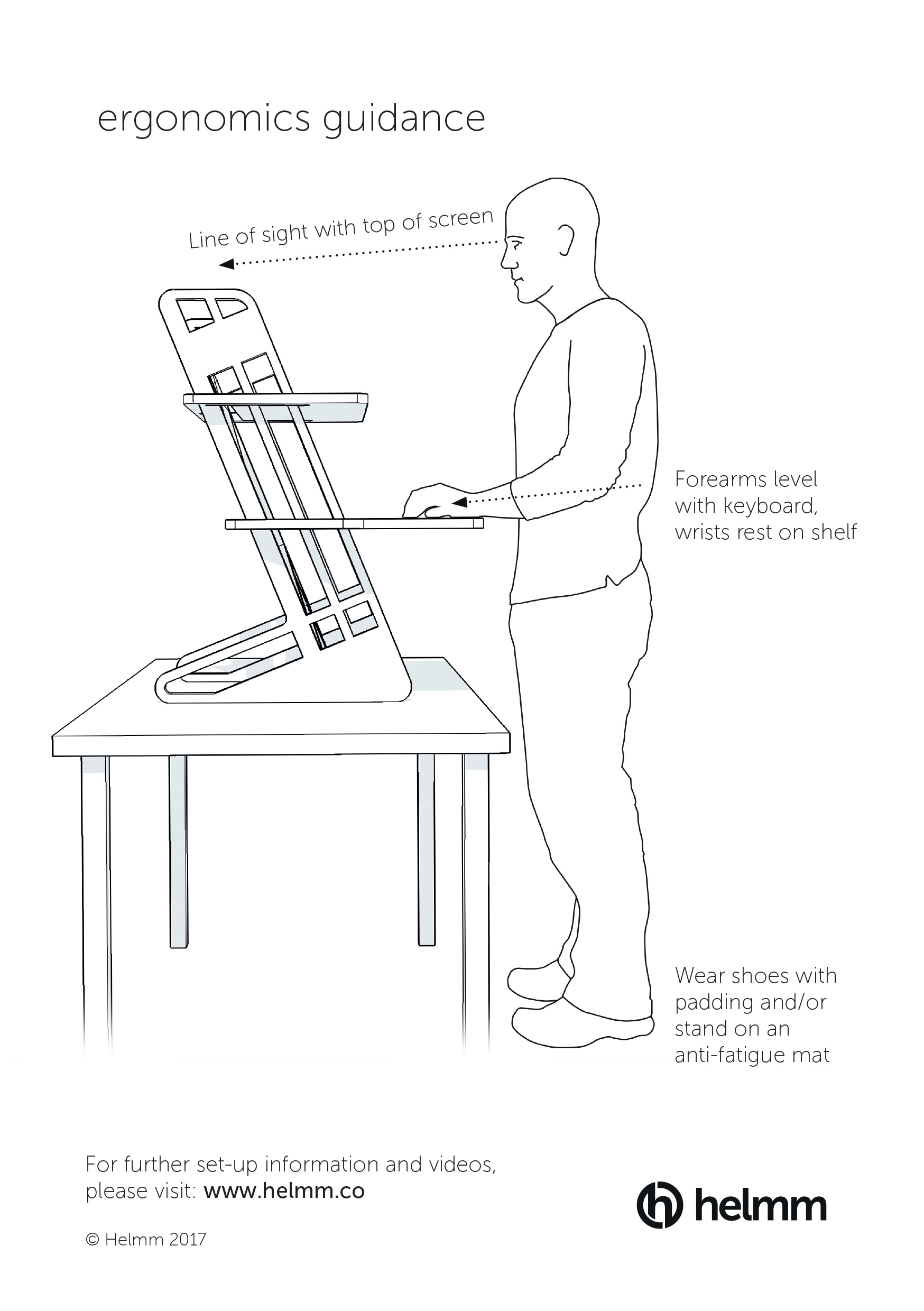 standing desk ergonomics diagram