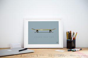 Small framed skateboard office art print poster