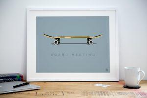 Skateboard office art print poster