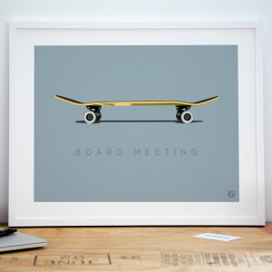 Skateboard office art print poster