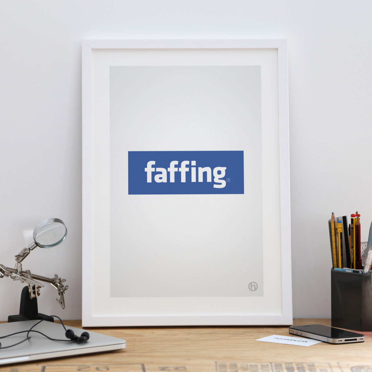 Faffing framed Facebook parody art print poster small