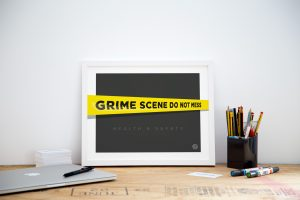 Grime scene framed kitchen office art print poster small