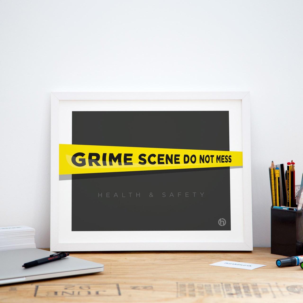 Grime scene framed kitchen office art print poster small