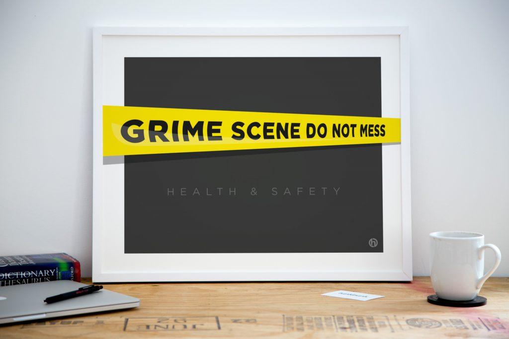 Grime scene kitchen office art print poster