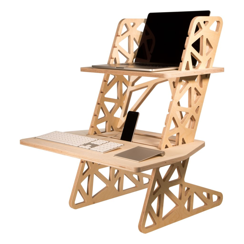 wooden standing desk converter by Helmm - S-Desk Voro