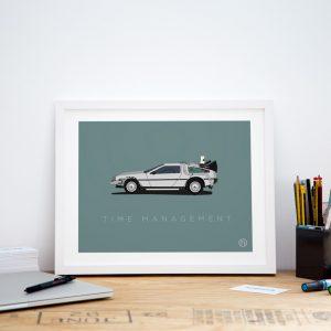 Small framed delorean office art print poster