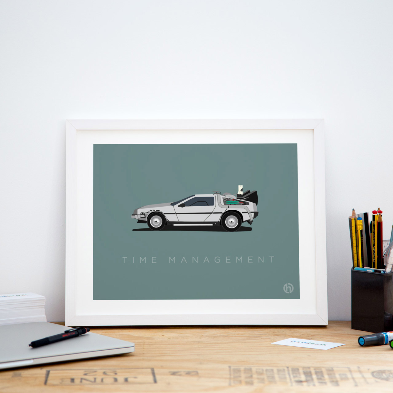 Small framed delorean office art print poster