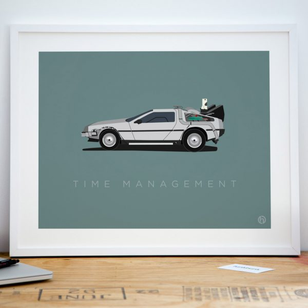 Back to the future delorean office art print poster