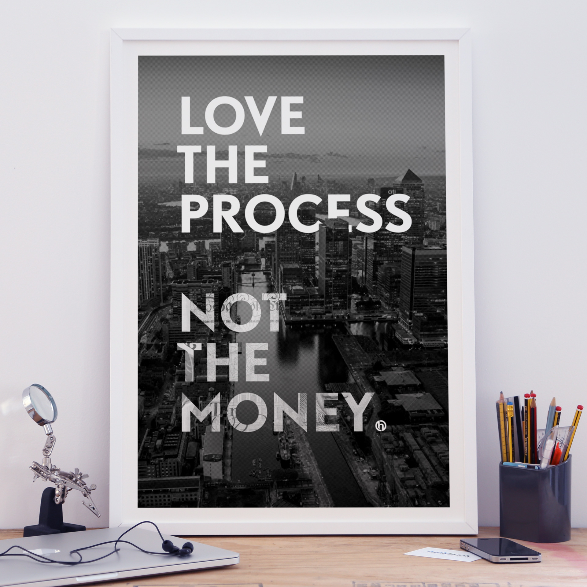 posters for the office. A2 Motivational Print - Cityscape Love The Process Posters For Office
