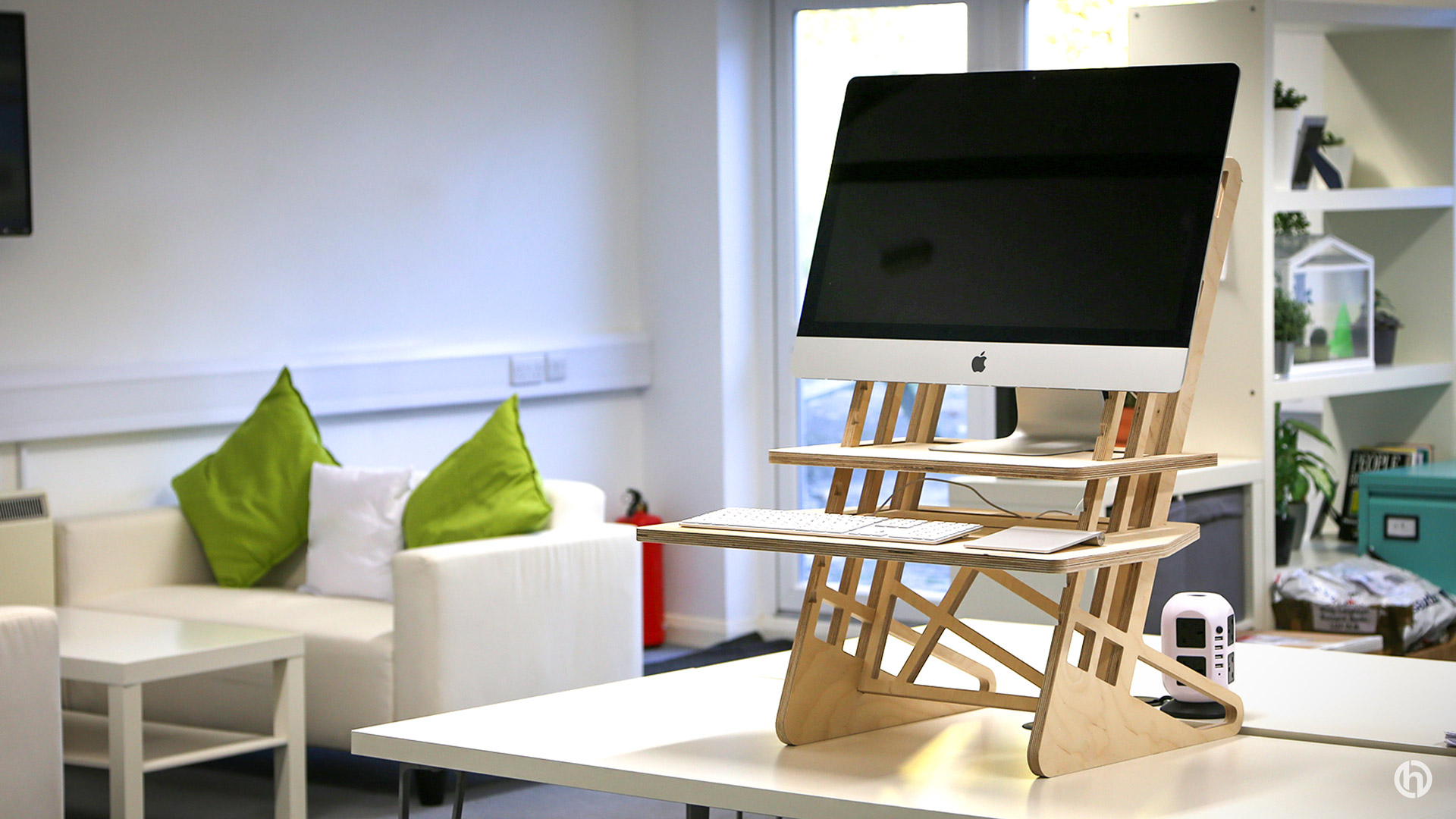 wooden standing desk for iMac