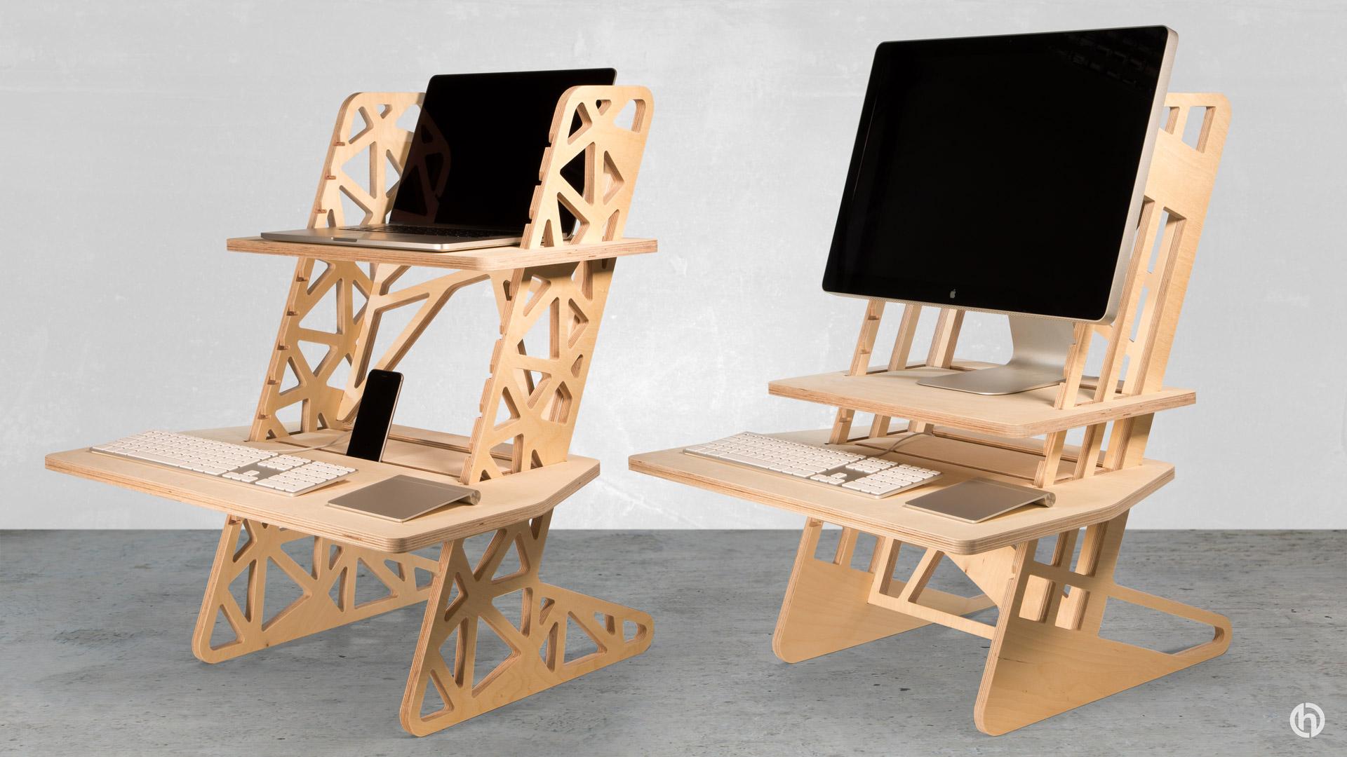 wooden standing desk converters