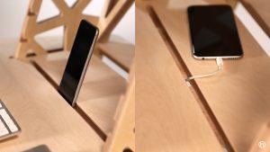 phone slot in standing desk wooden shelf