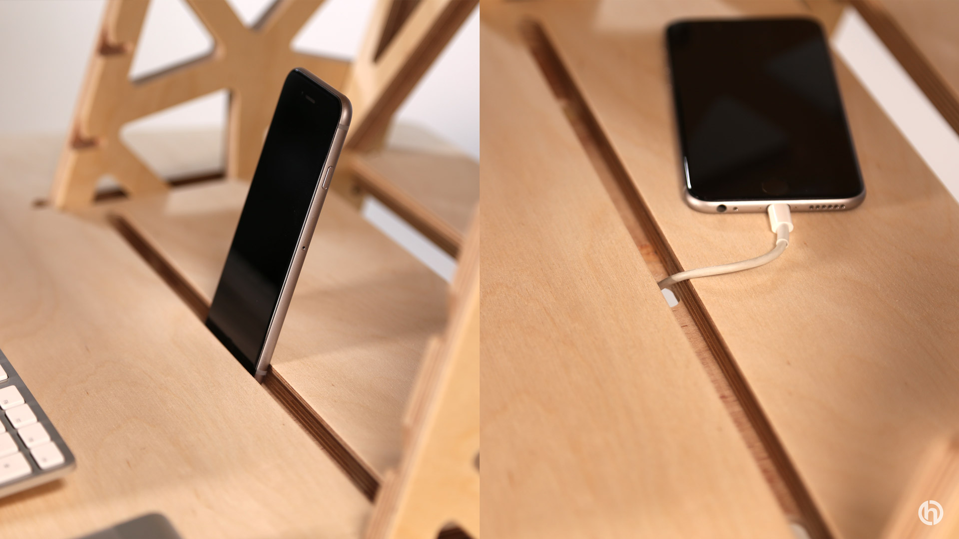 phone slot in standing desk wooden shelf