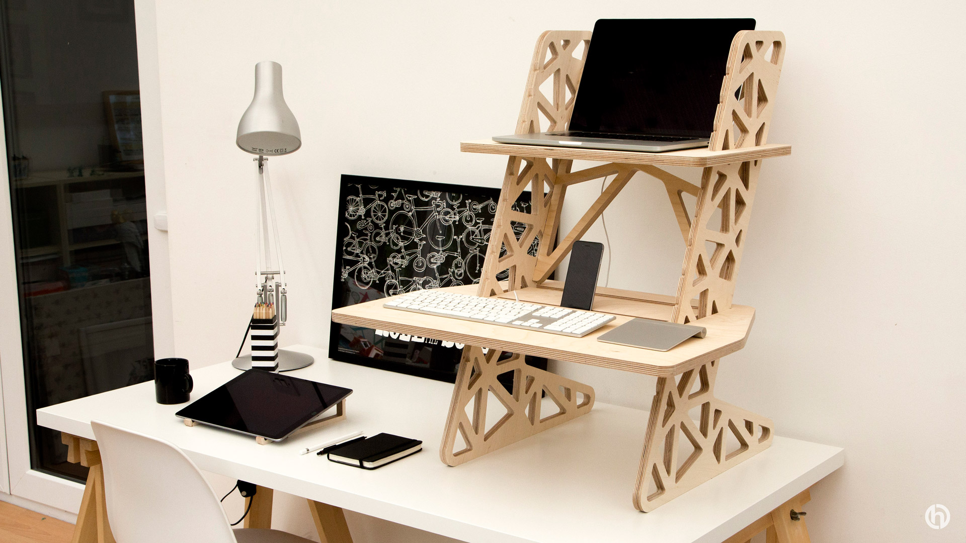 wooden standing desk for home office