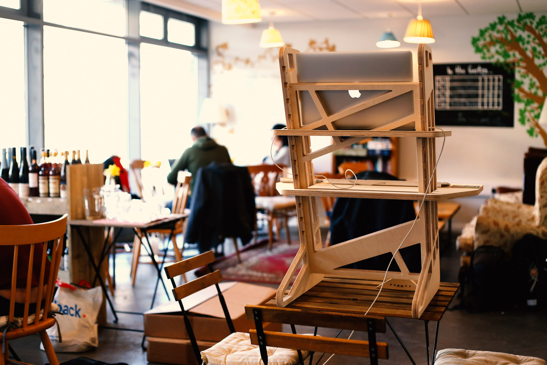 Coworking with wooden standing desks