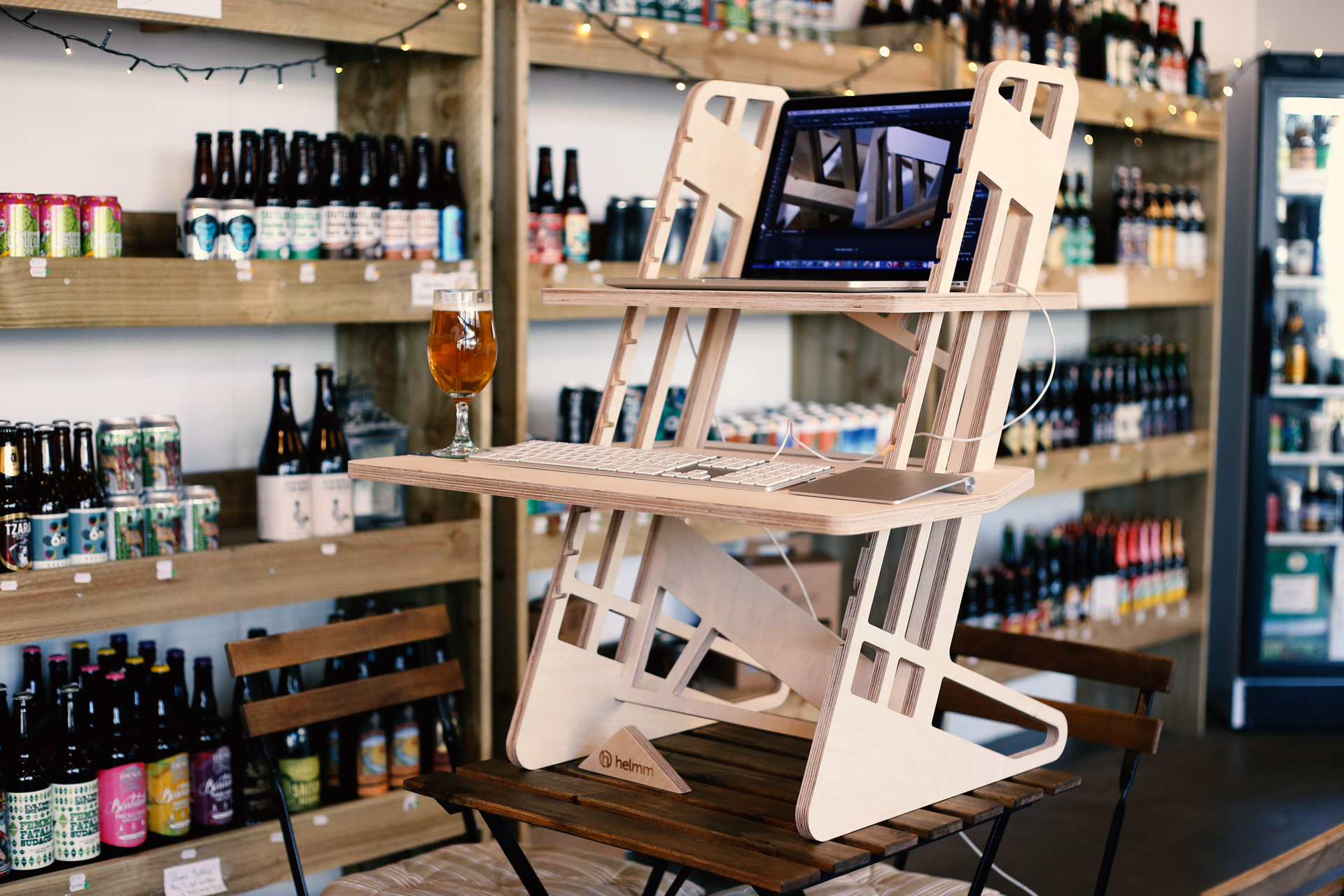 Standing desk in a bottle shop