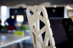 Detail of our wooden standing desk the S-Desk Voro